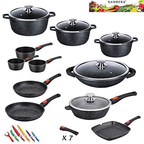 Kamberg 0008162 Set Lot Batterie De Cuisine 27 Pieces Fonte