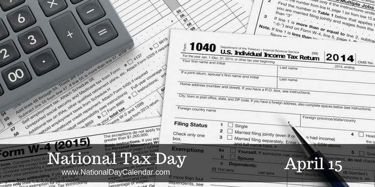 NATIONAL TAX DAY 2015 tax filing deadline is April 18. April 15 of each year is National Tax Day.  In the United States, Tax Day is a term for the day on which individual income tax returns …