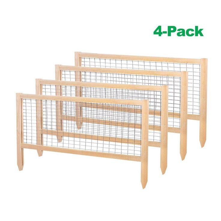 CritterGuard 23.5 in. Cedar Garden Fence (4-Pack), Natural