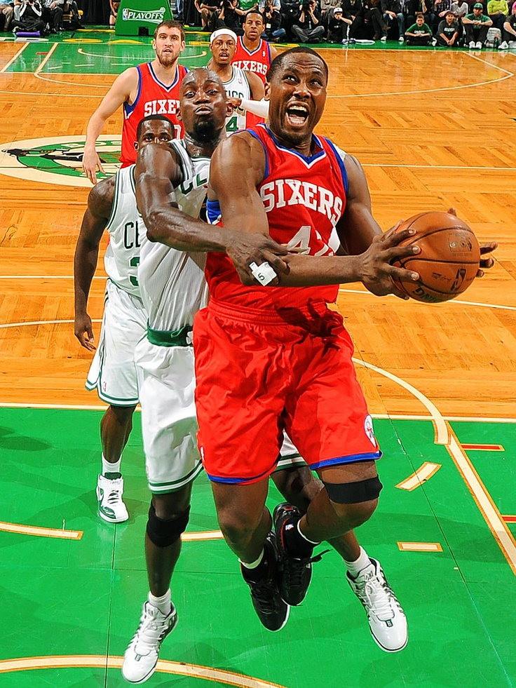 Conga Line - Elton Brand of the Philadelphia 76ers shoots the ball against Kevin Garnett of the Boston Celtics in Game One of the Eastern Conference Semifinals during the 2012 NBA Playoffs at TD Garden in Boston.  Free Information Make Money Online  http://ibourl.com/1nss