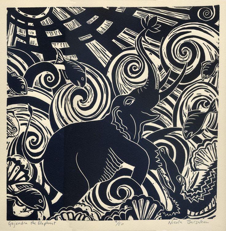 GAJENDRA THE ELEPHANT linocut.