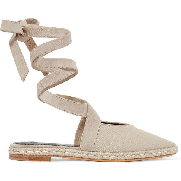 JW Anderson JW Anderson - Suede-trimmed Canvas Espadrilles - Beige (€585) ❤ liked on Polyvore featuring shoes, sandals, tie sandals, canvas shoes, canvas espadrilles, ribbon shoes and j.w. anderson
