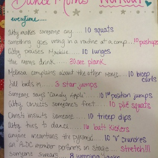 """My version of the """"Dance Moms"""" workout game."""