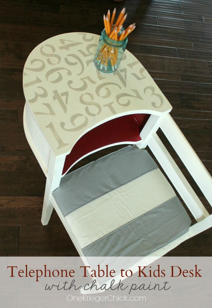 Antique Telephone Table Makeover using chalk paint...easy as 1,2,3! OneKriegerChick.com