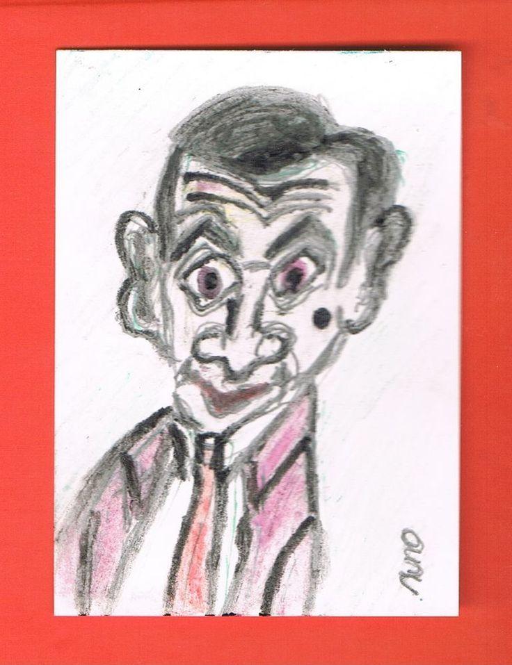 ACEO original CARTOON Mr BEAN Art Card  Artist Europe Colored Pencils #Miniature
