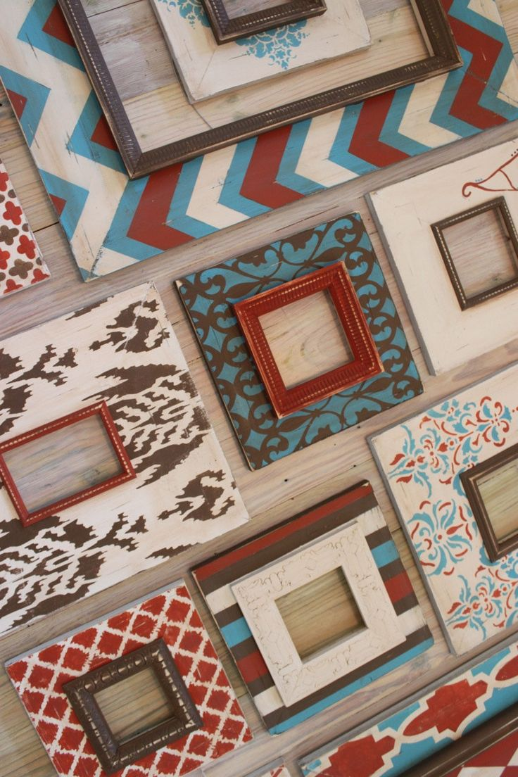 Stairwell Grouping of Distressed Picture Frames in Turquoise, Vintage White, Burnt Orange and Chocolate