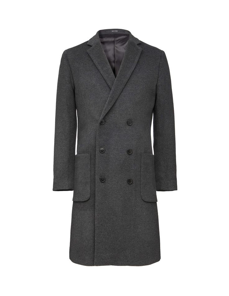 Men's coat in luxurious cashmere-wool blend. Features  double-breasted front fastening. Two front patch pockets and two inner pockets. Fully lined. Slim fit. Above-knee length.
