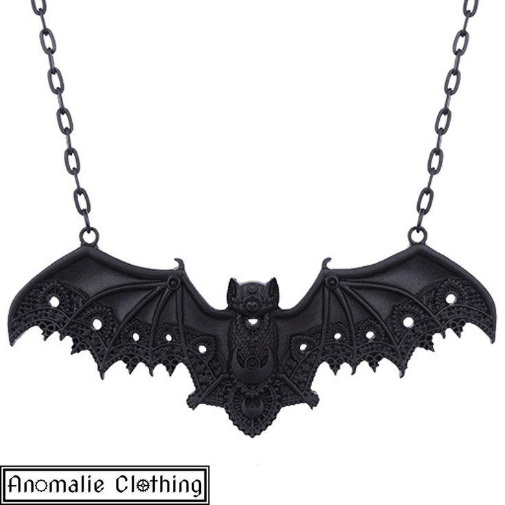 Black Lace Bat Pendant on Chain Necklace