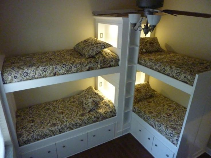 built in corner bunks   This 4 bed custom build has many features that lend it a touch of ...