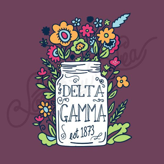 Delta Gamma | DG | Mason Jar Vase Graphic | South by Sea | Greek Tee Shirts | Greek Tank Tops | Custom Apparel Design | Custom Greek Apparel | Sorority Tee Shirts | Sorority Tanks | Sorority Shirt Designs