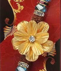 Gold foil Blossom flower Rakhi online at DevotionalStore #Raksha Bandhan #Rakhi #Rakhi Online #Gold Foil Rakhi  #DevotionalStore