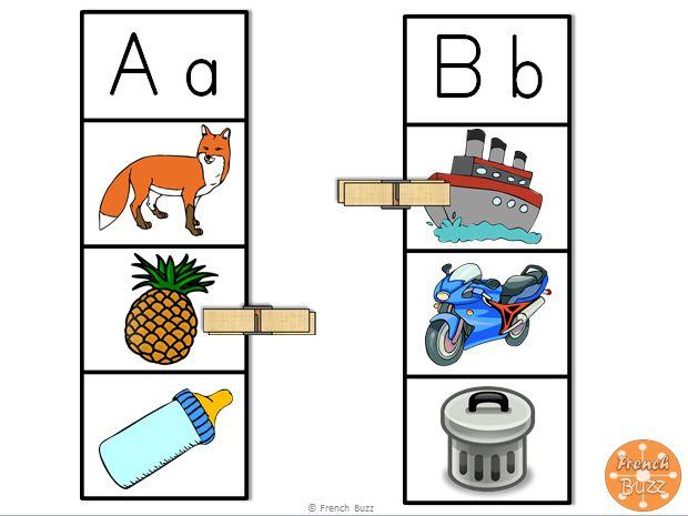 La lettre initiale - activité pour choisir l'image qui commence avec la lettre donnée. Centre de littératie pour travailler les lettres et les sons initiaux.