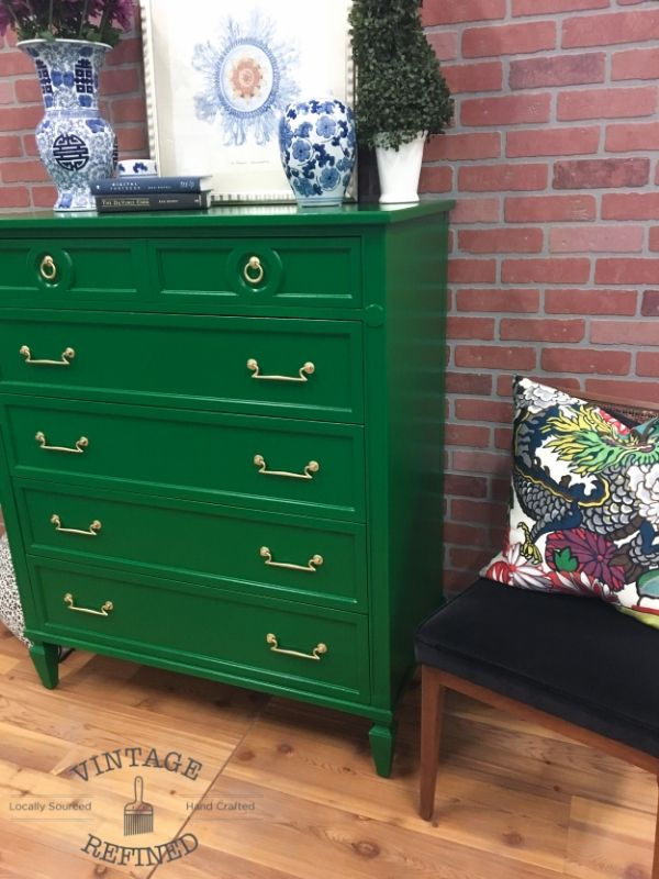Emerald Green Chest — General Finishes Emerald Milk Paint