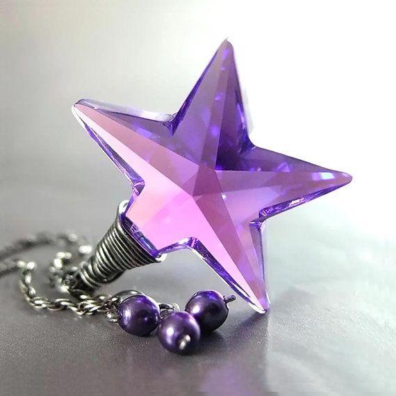 Purple Star Necklace Sterling Silver Swarovski Violet Amethyst Purple Crystal Star Pendant Necklace
