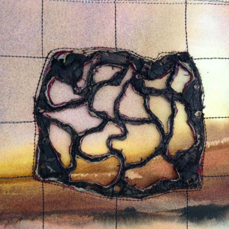 Distorted grid, fused fabrics, stitch, heat distortion