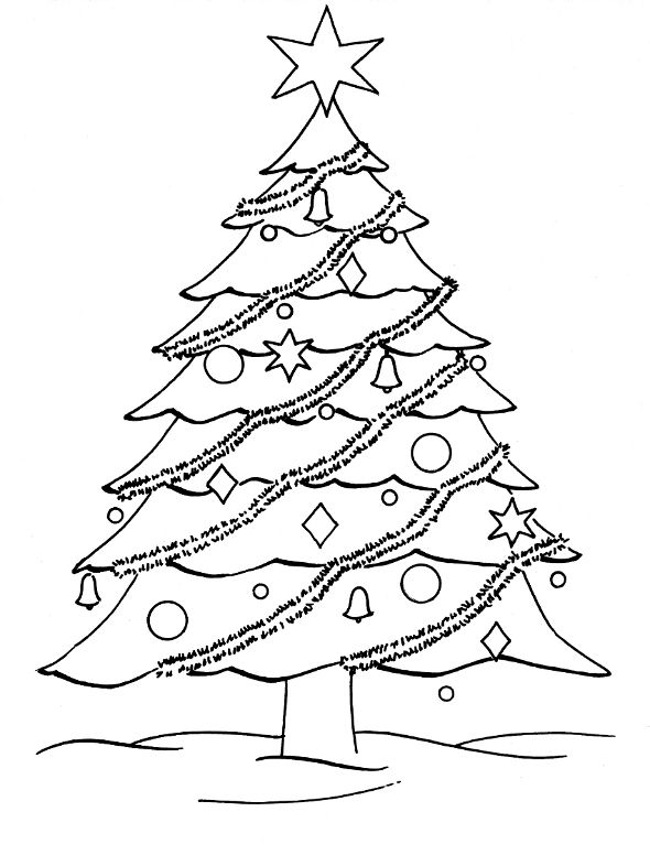 Christmas Tree Pictures to Color and Draw for Kindergarten