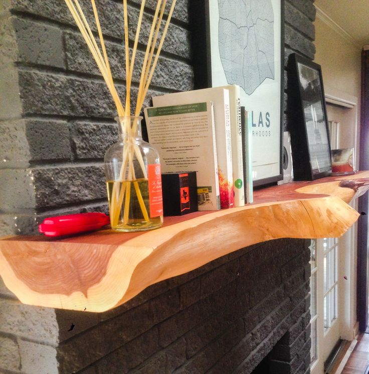Tree Of Life Fireplace Surround: Cedar Mantle Made From Raw Slab. Jacob@JBHarlan.com