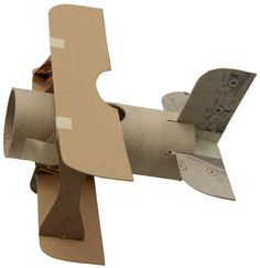 Make a mini-biplane from toilet paper tubes and other paper products.