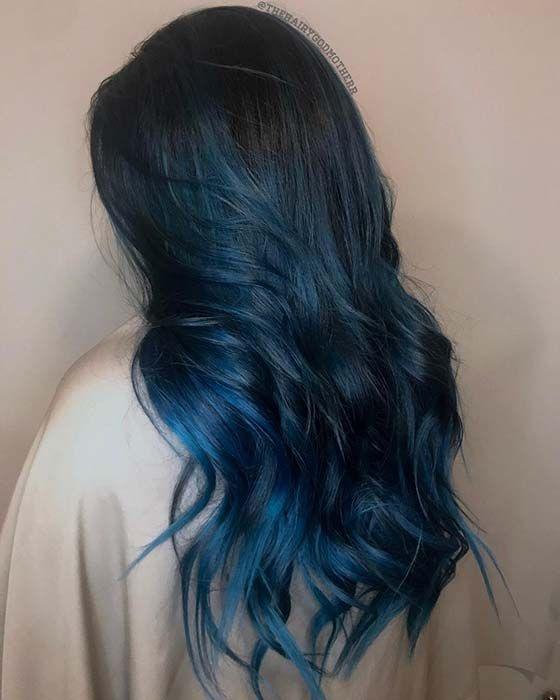 Black To Dark Blue Ombre Hair Idea Blue Ombre Hair Black Hair