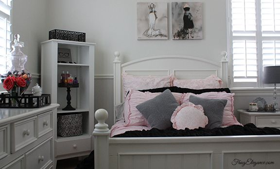 From little girl to young lady this bedroom needed updating. For full blog post: www.frugelegance.com & lots of extra pics on our FrugElegance by Design Room Makeover board. #RoomMakeOver #Target #HomeGoods #Teenbedroom