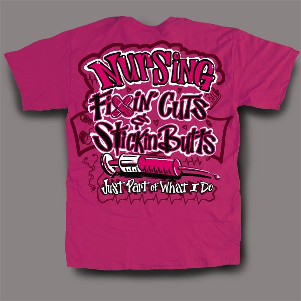 "Great gifts for when they are on or off duty are our nurse t-shirts, which you can ""dress up"" by adding one of our exclusive nursing themes. Each message has been researched with the aid of nursing professionals to best express your appreciation."