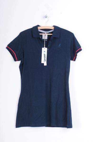 Kangol Womens 14 L Dress Navy Blue Cotton Tennis Short Sleeve - RetrospectClothes