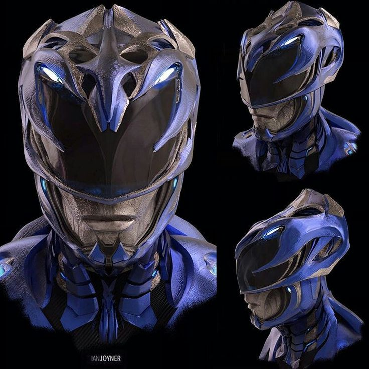 Unused Saban's Power Rangers Film 2017 Blue Ranger/Triceratops Helmet Concept - Artist Designer : Ian Joyner | The outer skull structure of the helmet is kinda of a cool touch & nod to an actual triceratops. #∆∆shani