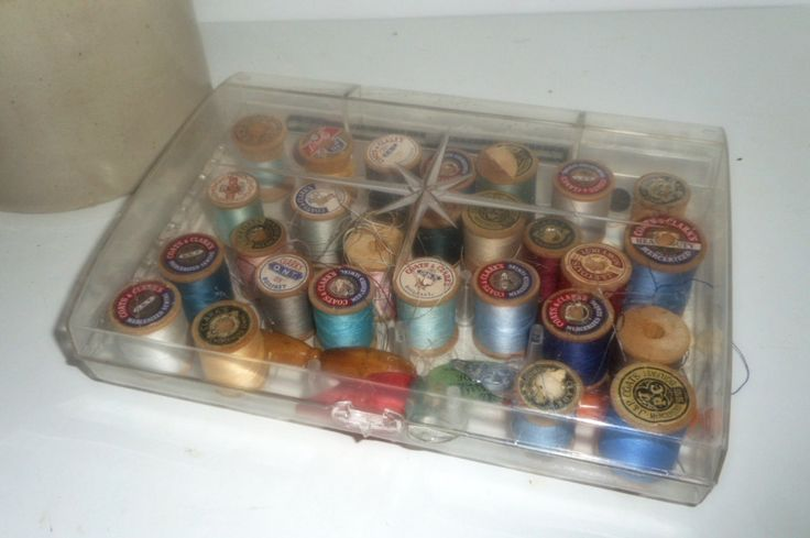 Sewing Box, Wooden Spools, 1950s Sewing Box, Small Darner,Thread Box by rpreserved on Etsy