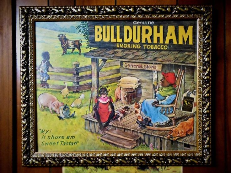 Antique Framed Vtg Original Bull Durham Smoking Tobacco Store Display Poster