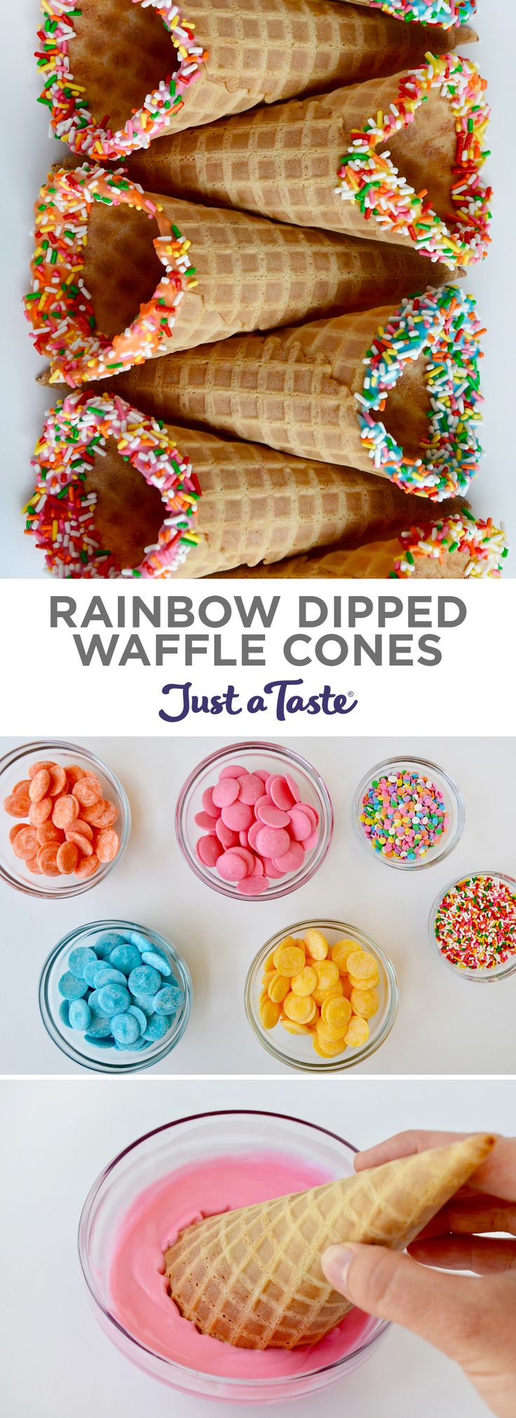Rainbow Dipped Waffle Cones #recipe from justataste.com #summer