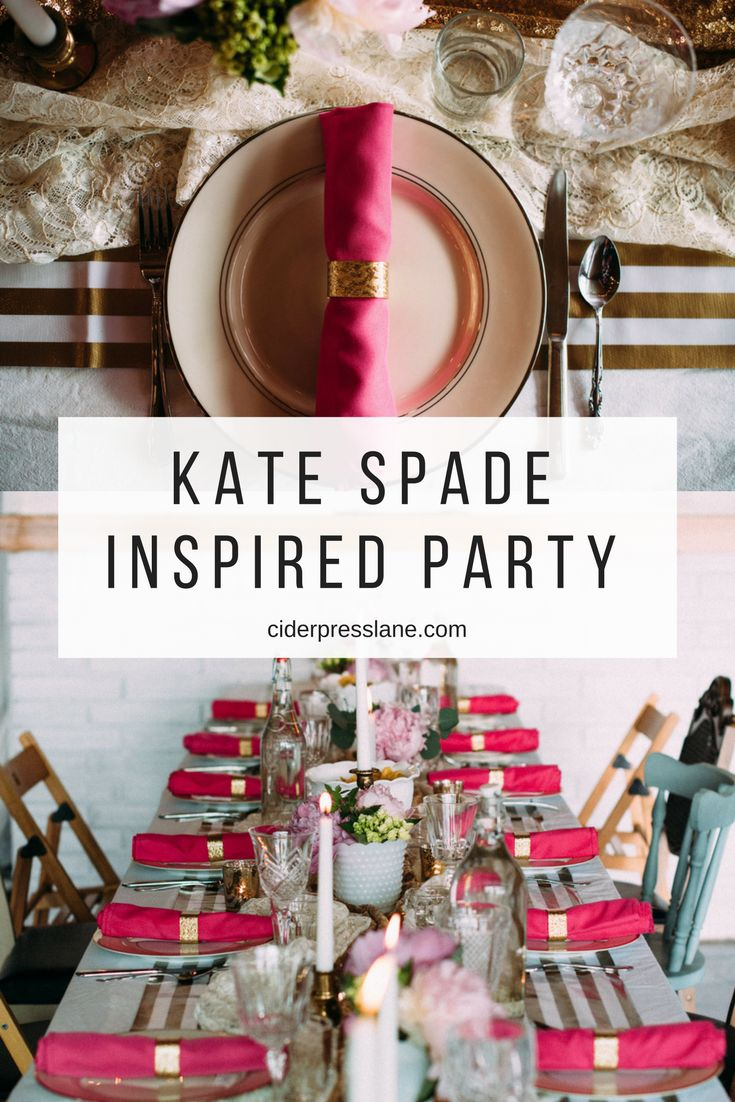 Kate Spade Inspired Party. #tablescapes #feminine #white #gold #pink #girlie #katespade #events #decor #placesetting #centerpieces #partydecor #birthdayparty #anniversaryparty #community #gather