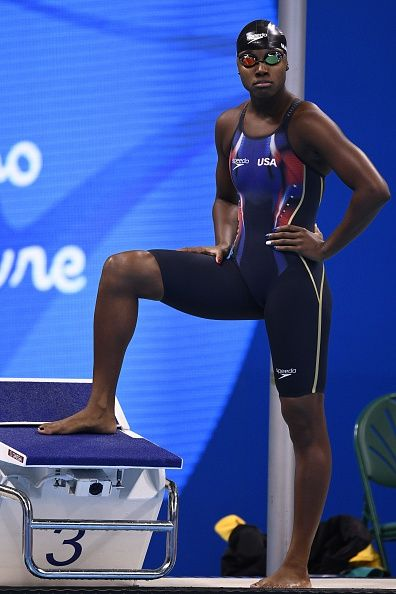#RIO2016 USA's Simone Manuel prepares to compete in the Women's 100m Freestyle Final during the swimming event at the Rio 2016 Olympic Games at the Olympic...