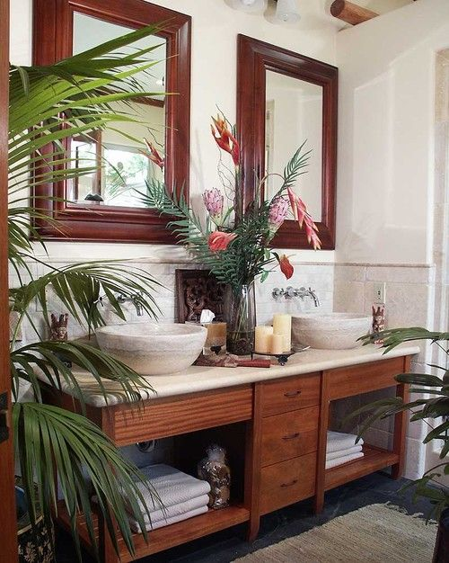 Nice Tropical Bathroom Planters Accessories Designs How to Decorate Wonderful Tropical Bathroom