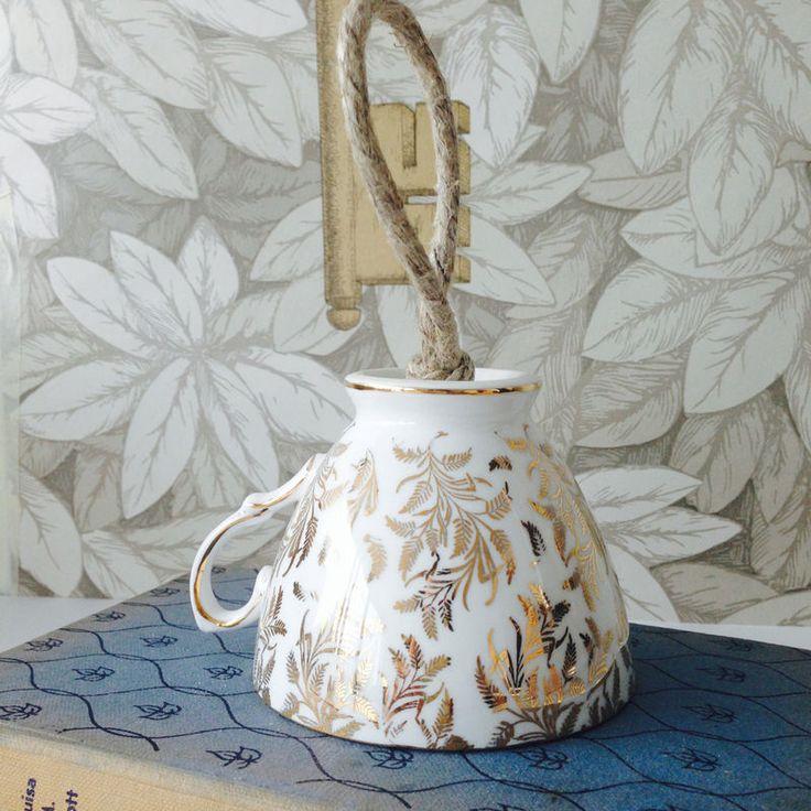 Gold Leaf Vintage Tea Cup Birdfeeder