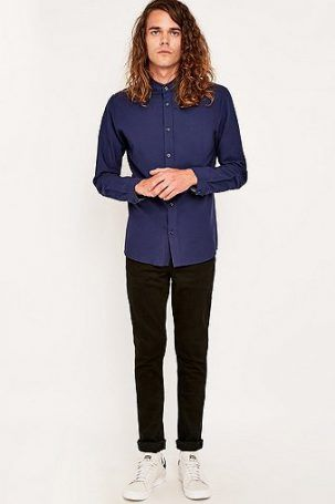 Suit – Oxford-Hemd in Night Sky mit Stehkragen – Herren L