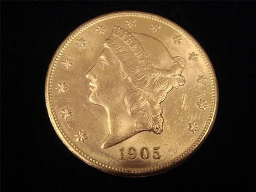1905 S $20 Liberty Gold Double Eagle MS62+  Excellent Overall eye appeal. Original Patina $360.00