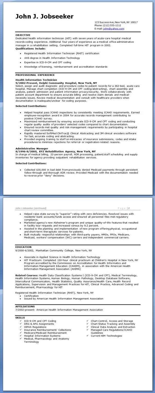Health Information Technician Resume Sample