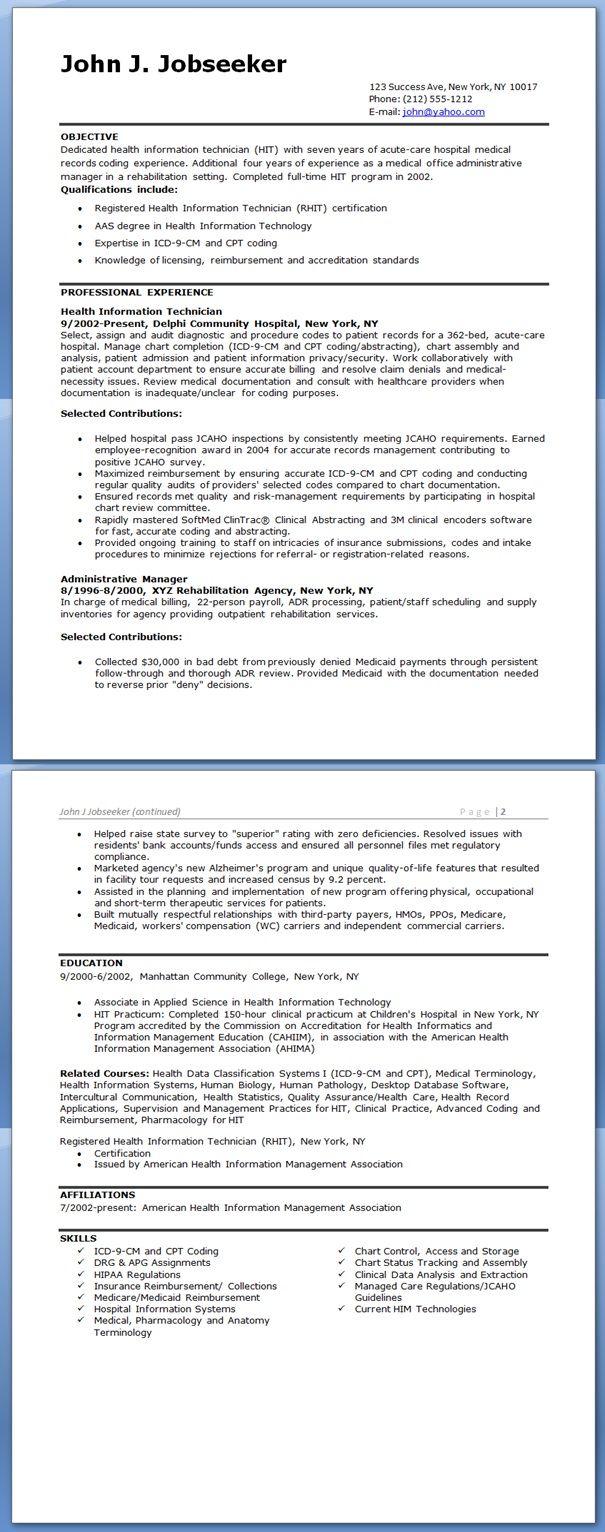 health information technician resume sample medical billingmedical codingbilling - Medical Billing And Coding Resume Sample