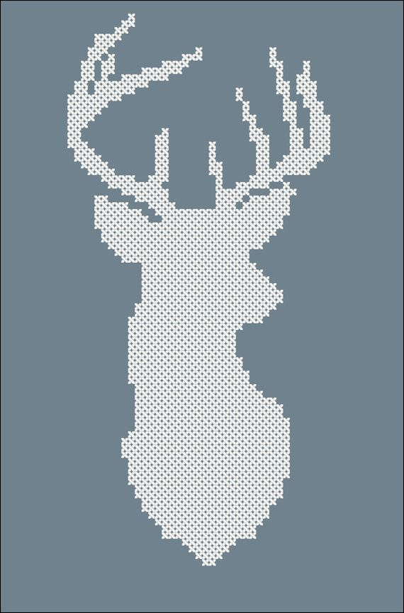 Cross stitch simple pattern Deer Silhouettecross by ElinaLhandmade, $2.00