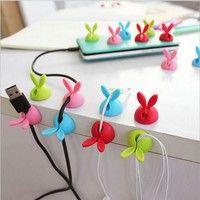 Wish | 4 X Rabbit Ears Cable Drop USB CD DVD Kabel Clips Halter Kabelbinder Kabelhalter Management (Color: Multicolor)
