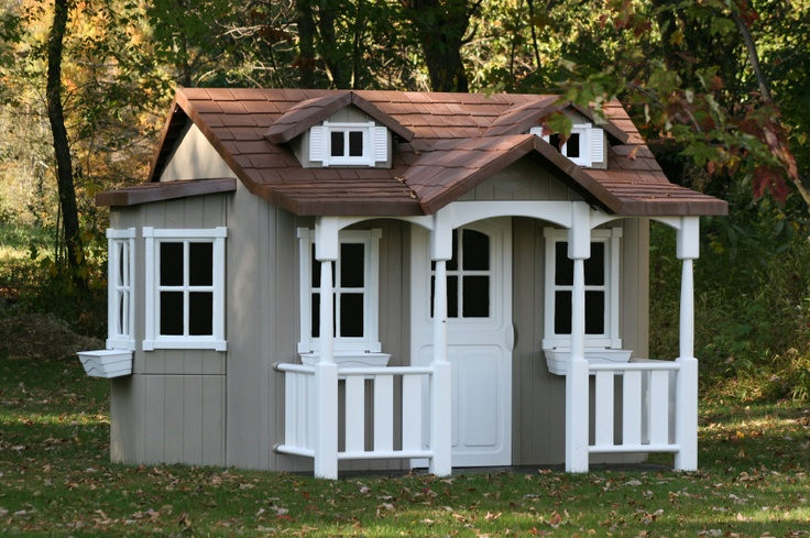 Kids wooden playhouse kids wooden playhouses pinterest for Playhouse with garage plans