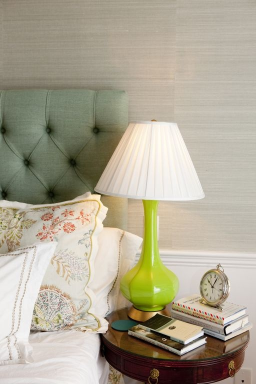 Pretty textured wallpaper and headboard from Nursery Notations