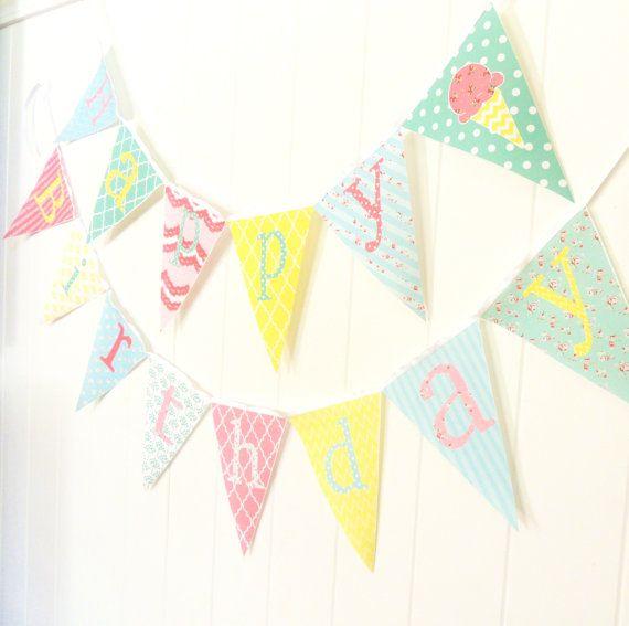 Happy Birthday Bunting, Happy Birthday Banner, Fabric Pennant Flags, Shabby Chic, Ice Cream, Photo Prop, Party Garland, Happy Birthday Sign