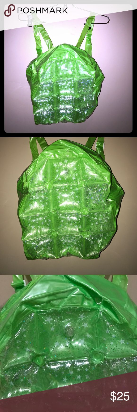 Bubble backpack 90s green bubble backpack with white stars and rainbow glitter. Inflatable backpack. Brand-new. Bags Backpacks