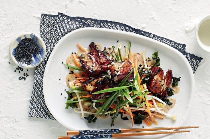 Create magic at home with chef Ikuei Arakane's pork belly served with Kewpie Japanese Dressing: Roasted Sesame.