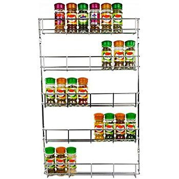 Andrew James Spice Rack with Tiers Options, Large Chrome Herb & Spice Rack Organiser for up to 48 Jars or Packets of Spices, Wall Mounted or Cupboard Door Fitting, Fixings Included (5 Tier)