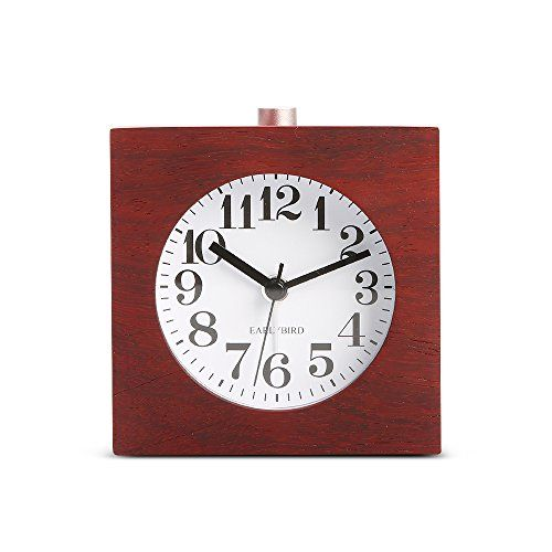 BELKA Clear Face Alarm Clock MidCentury Wood Desk Decor Vintage Silent Square Walnut Alarm Clock Multifunction Clock with Nightlight Snooze FeatureBattery not included >>> Learn more by visiting the image link.