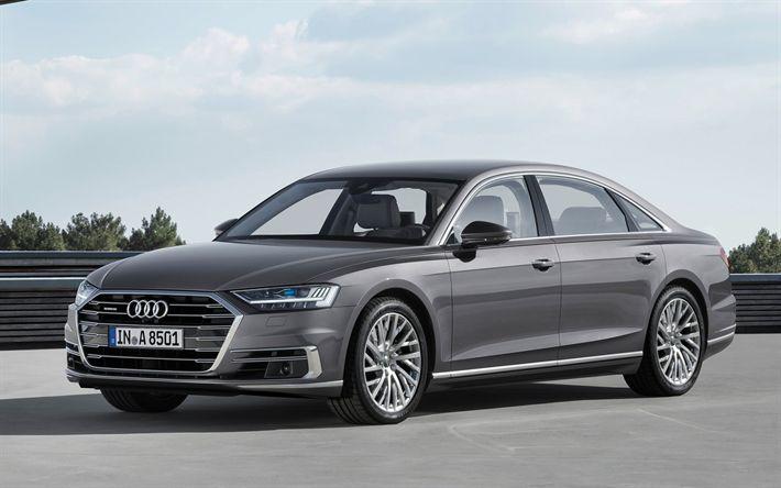 Descargar fondos de pantalla Audi A8 L, 2018, versión Larga, limusina, gris A8, el nuevo A8, los coches alemanes, el sedán de lujo, Audi