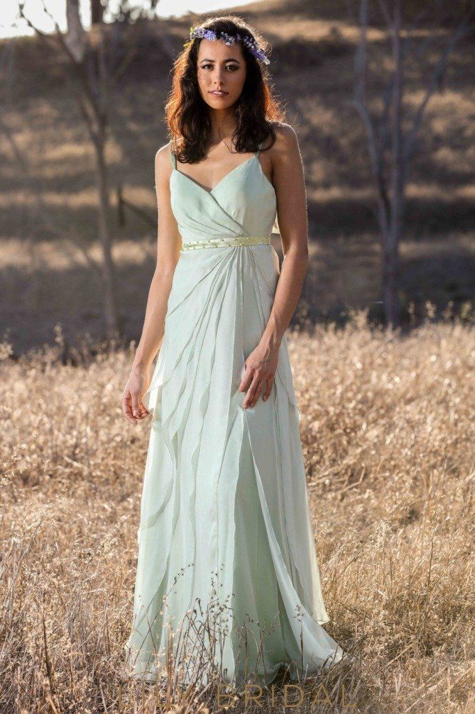 94bc2559a56 Pale Sage Chiffon A-line Sleeveless Beaded Satin Sash Bridesmaid Dress.  Chiffon Spaghetti Strap ...