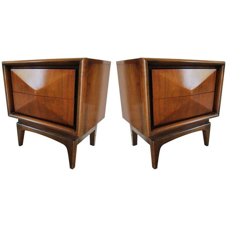 Pair of Mid Century Modern Bedside Tables in the Style of Kagan | From a unique collection of antique and modern night stands at http://www.1stdibs.com/furniture/tables/night-stands/